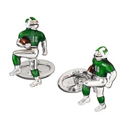 Sterling Silver Cufflinks Moving Football Player