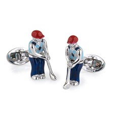 Sterling Silver Moving Golfer Cufflinks
