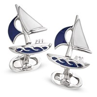 SS Cufflinks Moving Sailboat with Enamel