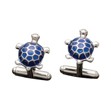 Sterling Silver Enamel Turtle Cufflinks