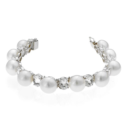 18k White Gold Bracelet with Freshwater Pearls & White Topaz