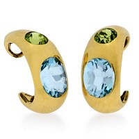 18k Blue Topaz Peridot Earrings with Clips