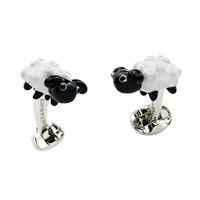 Silver & Enamel Black Sheep Cufflinks