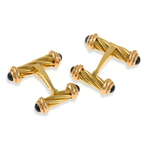 18k Gold Fancy Bar Dumbbell Cufflinks with Sapphires