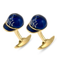 18k Gold Yankees Hat Cufflinks