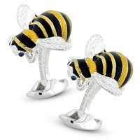 Silver & Enamel Bumble Bee Cufflinks