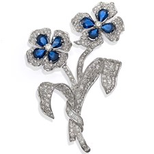 Diamond Sapphire White Gold Pin Two Flowers