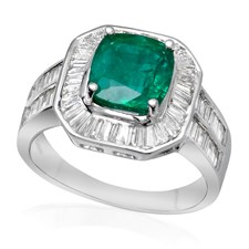 18K White Gold Faceted Emerald & Diamond Ring