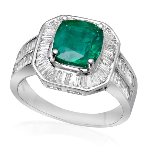 Faceted Emerald & Diamond Ring