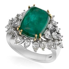 18K White Gold Cabochon Emerald Diamond Ring