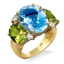 18k Yellow Gold 3-Stone Blue Topaz & Peridot Ring