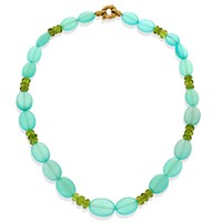 Chalcedony & Faceted Peridot Necklace with 18k Gold Clasp