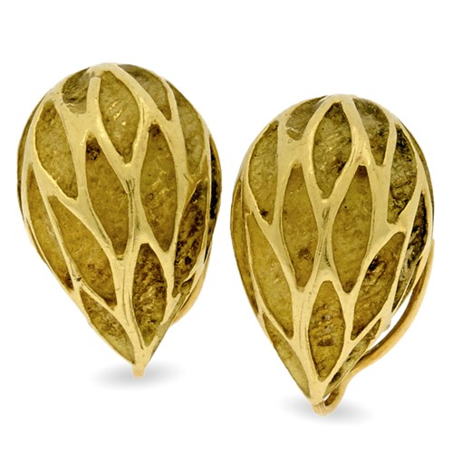 18k Gold Acorn Style Earrings with Clips