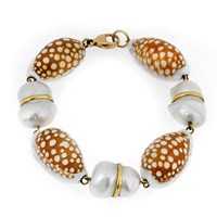 18k Gold Cowrie Shell Bracelet with Peanut Pearls