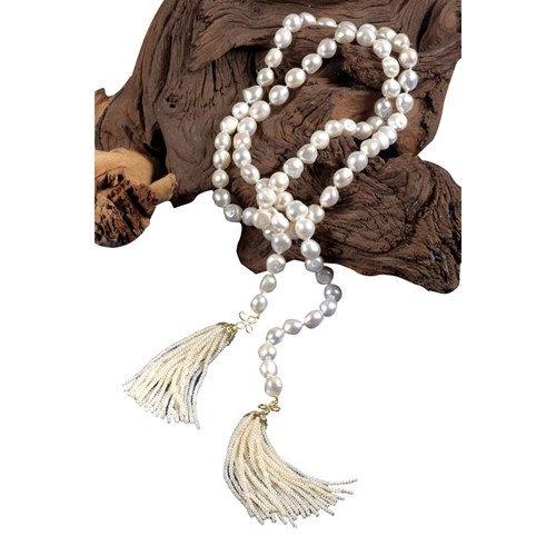 FW Pearl Necklace with Seed Pearl Tassels