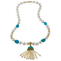 Yellow Gold Freshwater Pearl Necklace with Tassel and Melody Gems