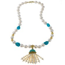 18k Yellow Gold Freshwater Pearl & Melody Gem Tasseled Necklace