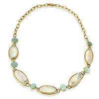 18k Gold Freshwater Pearl & Aquamarine Necklace with Diamonds