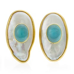 18k Gold Freshwater Pearl Earrings with Aquamarine