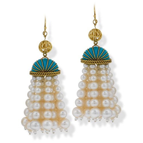 18k Yellow Gold Freshwater Pearl Wire Earrings with Tassel
