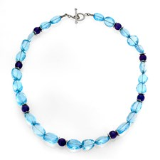 18k White Gold Blue Topaz & Amethyst Necklace