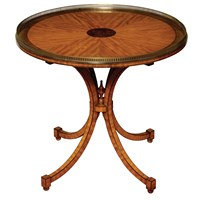 Satinwood Center Table, Brass Gallery