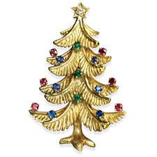 18k Gold Christmas Tree Pin with Precious Stones