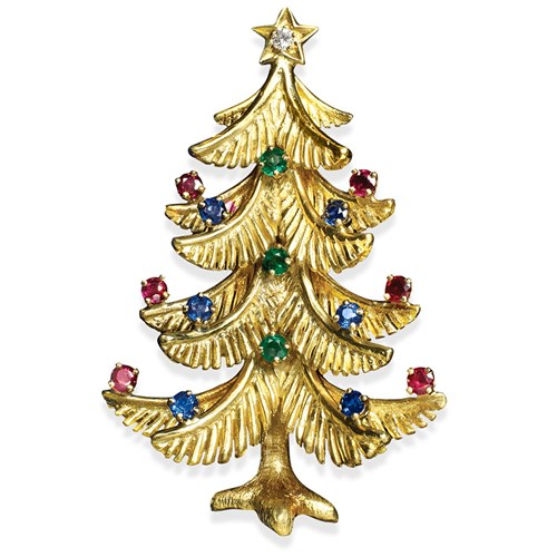 18k Gold Gemstone Christmas Tree Pin
