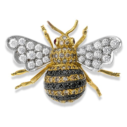 18k Gold Bee Brooch with White, Brown, and Black Diamonds