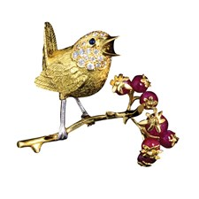 Gold and Ruby Wren Pin on Branch