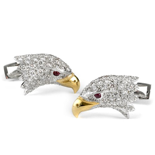 18k Gold & Diamond Eagle Cufflinks