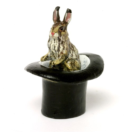 Austrian Bronze Rabbit in Top Hat Figurine