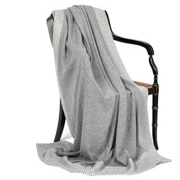 Cashmere Houndstooth Throw, Gray & White