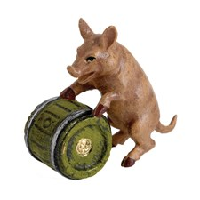 Austrian Bronze Pig with Barrel Figurine