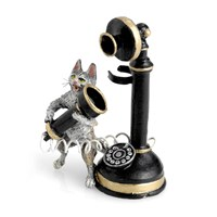 Austrian Bronze Cat with Old Telephone Figurine