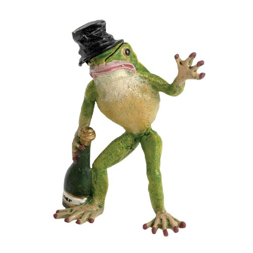 Austrian Bronze Frog with Top Hat & Bottle Figurine