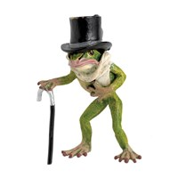 Austrian Bronze Frog with Top Hat, Scarf, Cane