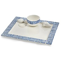 Blue Greek Key with Shells Chip & Dip