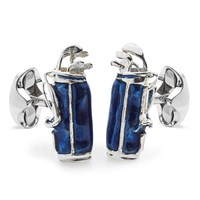 Sterling Silver Golf Bag Cufflinks, Blue