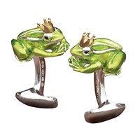 Sterling Silver & Enamel Cufflinks Frog with Crown