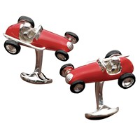 Sterling Silver and Enamel Red and Black Racing Car Cufflinks