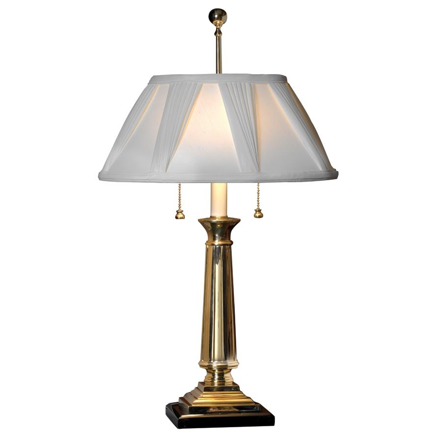 Polished Brass Table Lamp With Pleated Shade Table Lamps Desk