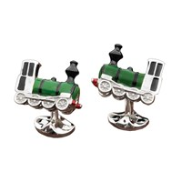 SS & Enamel Green Train Cufflinks