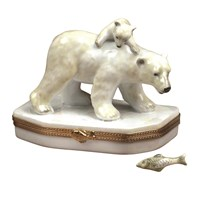 Polar Bear with Cub & Fish Limoges Box