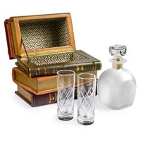 Leather Book Spines Box with Decanter & Glasses