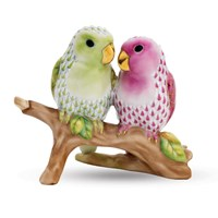 Herend Lovebirds on Branch