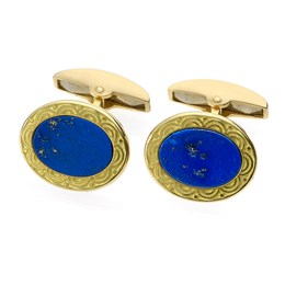 18k Gold Lapis Lazuli Cufflinks with Scalloped Enamel Border