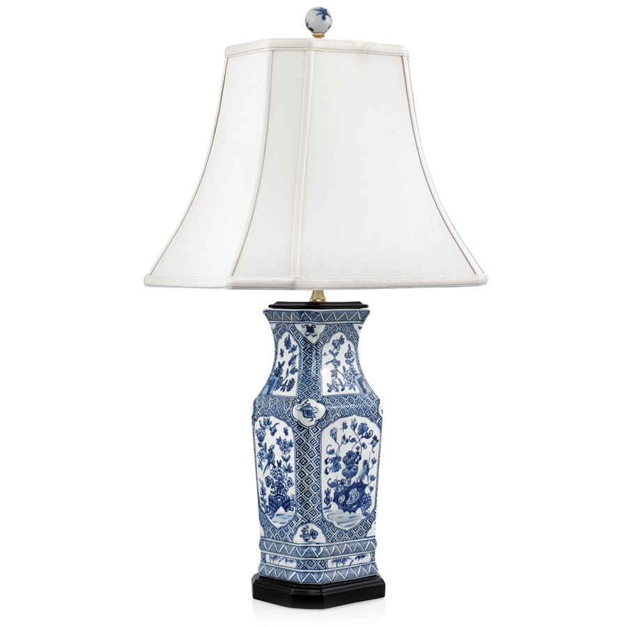 Blue And White Floral Porcelain Table Lamp. Hover To Zoom