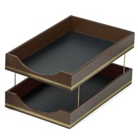 Florentine Leather Double Legal Tray