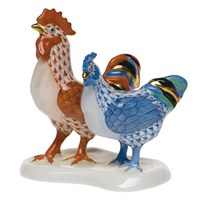 Herend Rooster with Hen Figurine